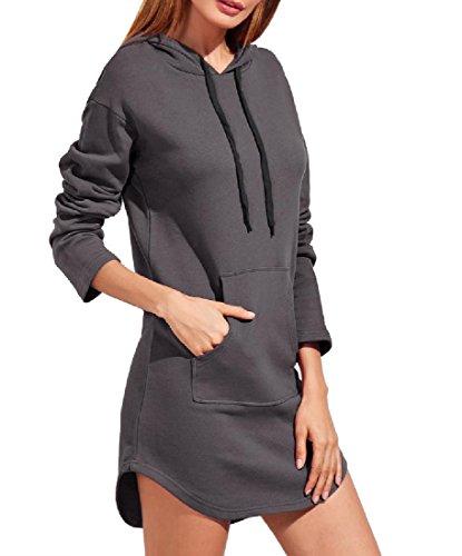 Long Coats Mid Fleece Comfy Grey Dark Hoodie Color Women Dress Simple Solid EqIIXY
