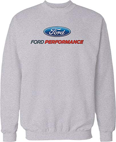 Hoodteez Ford Performance, Officially Licensed Crew Neck Sweatshirt, XXL LtGray ()
