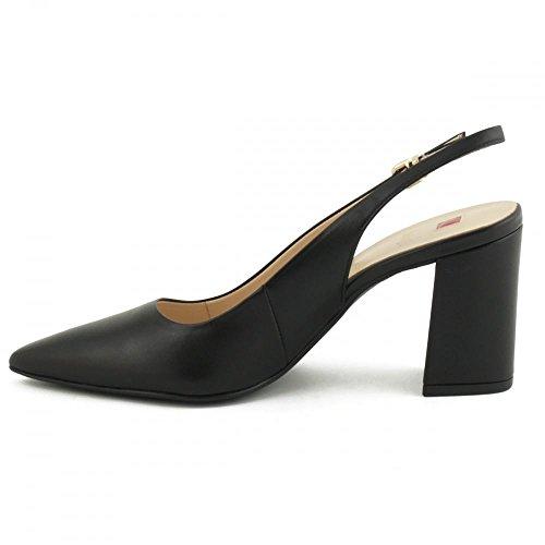 Damen Pumps Slingback spitz Absatz hoch Leder schwarz