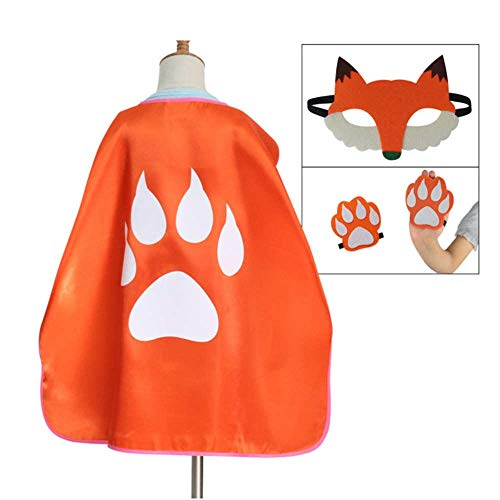 Party Diy Decorations - Fox Mask Paw Cloak Costumes Set Children Festival Party Performance Carnival Masque Outfits - Decorations Party Party Decorations Halloween Birthday Cute Tail Furry Mask C ()
