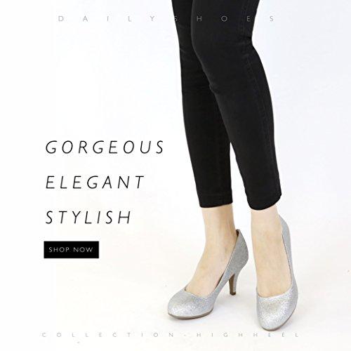 Dailyshoes Femmes Confortable Élégant Haut Rembourré Décontracté Talons Bas Formelle Bureau Dame Bout Rond Stiletto Pompes Chaussures Argent Gl