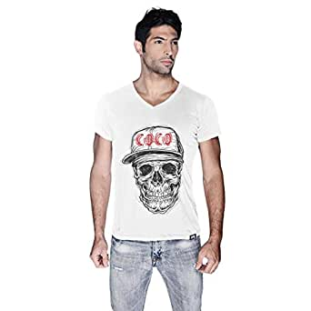 Creo Black Red Coco Skull T-Shirt For Men - L, White