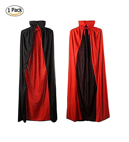 35'' Black and Red Halloween Cloak Magician Cape Cosplay Costumes for Boys Girls (Childrens Capes & Cloaks)