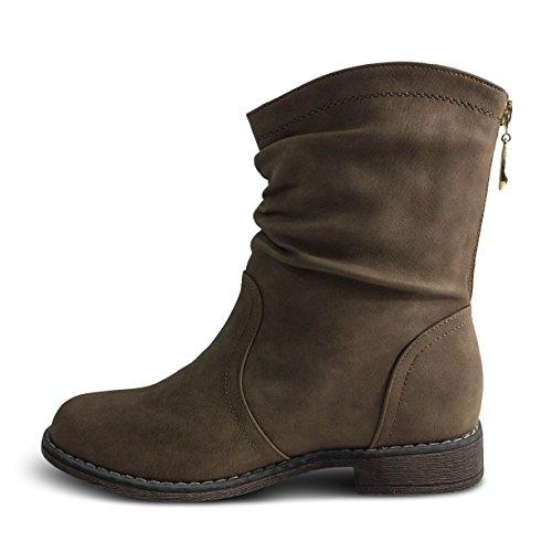 Damen Schlupfstiefel Stiefeletten Stiefel Boots gefüttert ST570 Khaki ...