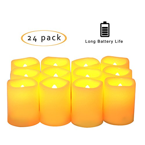Candle Choice Set of 24 Premium Flameless Votive Candles, Battery-operated, LED Candles, Long Battery Life 120+ Hours, Battery (Battery Operated Votive)