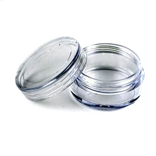 50 pcs New Empty Clear Plastic Cosmetic Containers 3 Gram Size Pot Jars Eye Shadow Container Lot Size:Diameter: 31 mm/1.2 inch Height: 16.5 mm/0.6 inch. (Jar 3g)