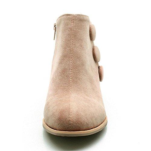 goma talón 38 H al desgaste negro Marrón HFour brown botón cortas beige botas grueso de antideslizante matorral resistente Seasons Women XIAOGANG 1qfwRxn6v6