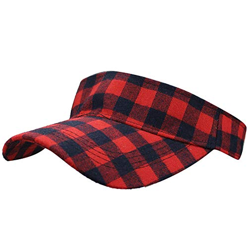 Summer Outdoor Sports Beathable Long Brim Empty Top Baseball Sun Cap Hat Visor (Plaid Red)
