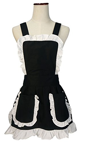 [LilMents Petite Retro Kitchen Cross Back Apron with Pockets Edge Ruffles Highlight (Black)] (Retro Housewife Costume)