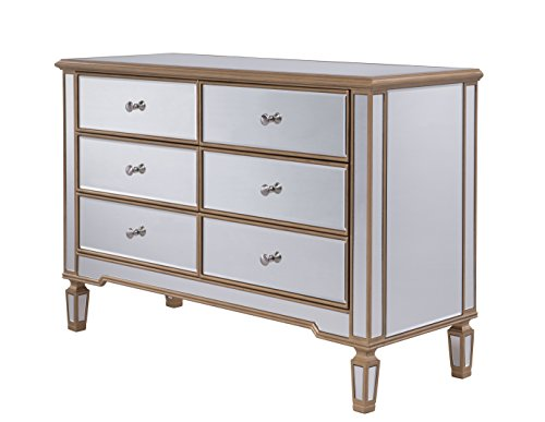 6 Drawer Dresser 48 in. x 18 in. x 32 in. in Gold (Hand Painted Six Drawer Chest)