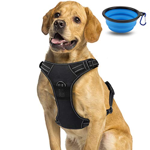 morpilot Dog Harness, No-Pull Adjustable Pet Vest Harness with Handle Control, No Pull Breathable Harness For Dogs, Medium/Large/XL Lightweight Nylon Dog Harness with Collapsible Dog Bowl
