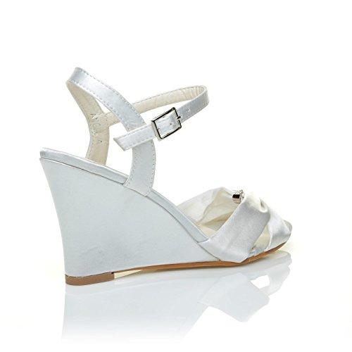 ANGEL White Satin Wedge High Heel Strappy Bridal Shoes ZsDRLU