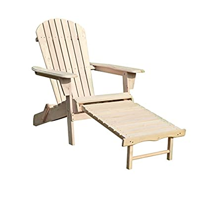 Merry Garden Foldable Wooden Adirondack Chair Kit with Pullout Ottoman, Outdoor, Garden, Lawn, Deck Chair, Unfinished - Wood Adirondack Chair - This Foldable Adirondack Chair is made out of High Quality Canadian Hemlock with a natural finish Ergonomically Designed - The ergonomic structure of this chair ensures optimal comfort and relaxation Foldable Chair - Our Foldable Wooden Adirondack Chair itself is light weight and very easy to handle, as it folds flat for easy storage - patio-furniture, patio-chairs, patio - 41okriWwcYL. SS400  -
