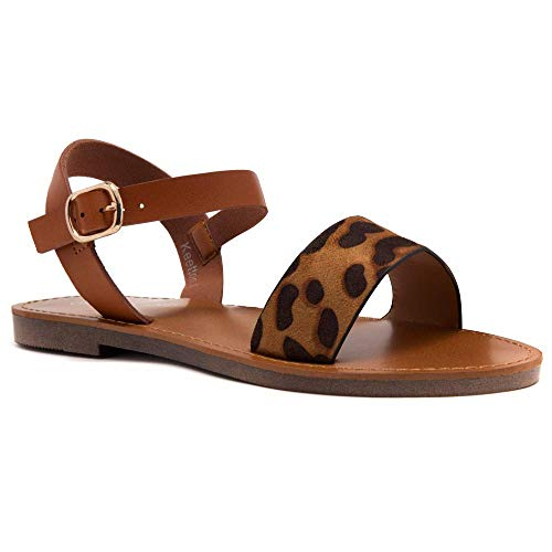 Herstyle Women's Keetton Open Toes One Band Ankle Strap Flat Sandals Leopard/Cognac 10.0