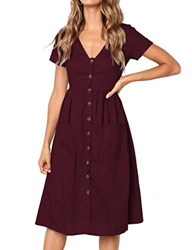 MEROKEETY Women's Summer Short Sleeve V Neck Button Down Swing Midi Dress with Pockets - Heel Button