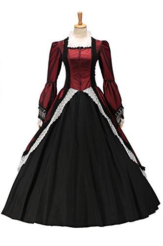 XOMO Marie Antoinette Victorian Dark Red Wedding Dress Ball Gown Prom Red M (Antoinette Stock)