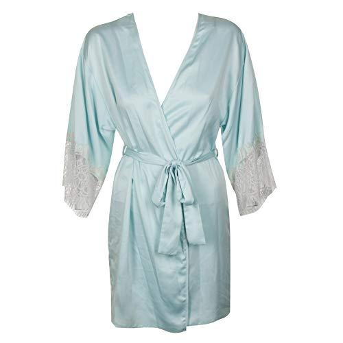 Flora Nikrooz Flora Womens Parker Lace-Sleeve Kimono Robe (Bridal Blue, Small/Medium) ()