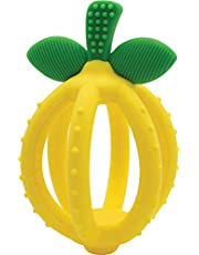 Itzy Ritzy Teething Ball & Training Toothbrush & Silicone, BPA-Free Bitzy Biter Lemon-Shaped Teething Ball Featuring Multiple Textures to Soothe Gums and an Easy-to-Hold Design,