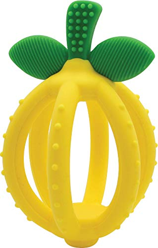 Itzy Ritzy Teething Ball & Training Toothbrush – Silicone, BPA-Free Bitzy Biter Lemon-Shaped Teething Ball Featuring Multiple Textures to Soothe Gums and an Easy-to-Hold Design, Lemon