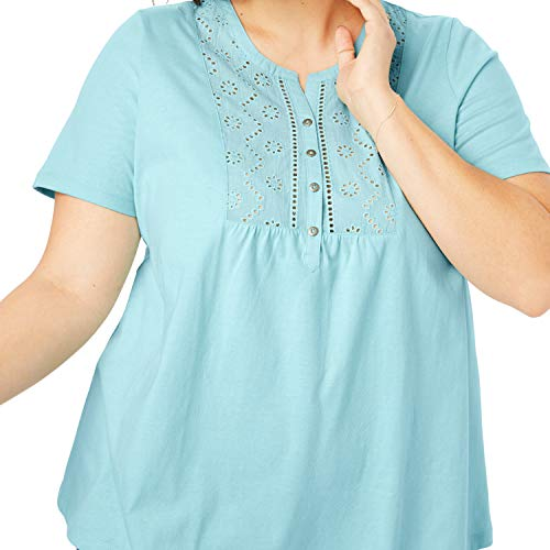 - Woman Within Women's Plus Size Eyelet Bib Henley Tee - Pastel Turquoise, M