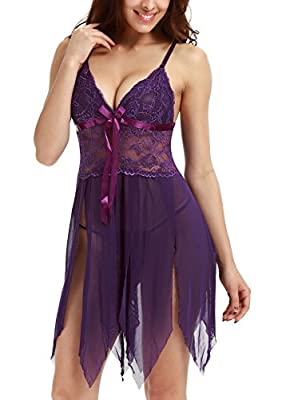 Adorneve Women Sexy Lingerie V-Neck Babydoll Lace Teddy Mesh Chemise Outfits