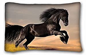 "Custom Cotton & Polyester Soft ( Animals horse mane hooves ) Zippered Body Pillow Case Cover Size 20""X30"" suitable for Queen-bed PC-Green-32824"