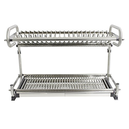 "23.2"" Kitchen Dish Rack 2 Tier Stainless Steel Cabinet Rack"