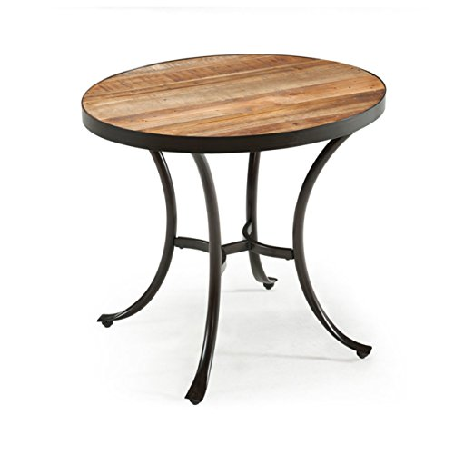 Emerald Home Berkeley Rustic Wood End Table with Oval Top and Metal Base