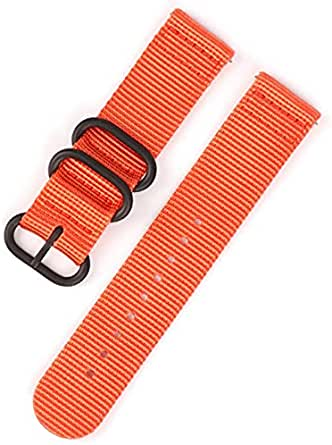 Canvas Nylon Wrist Strap with Black Metal Buckle - Size 20 - Orange