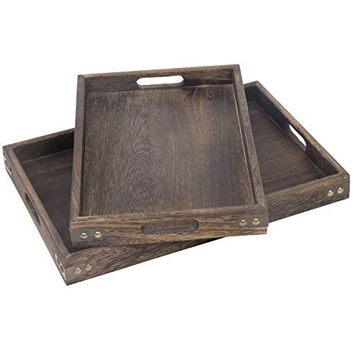 MyGift Burnt Wood Paulownia Serving Trays with Metal Accents, Set of 2 (Wood And Metal Tray)