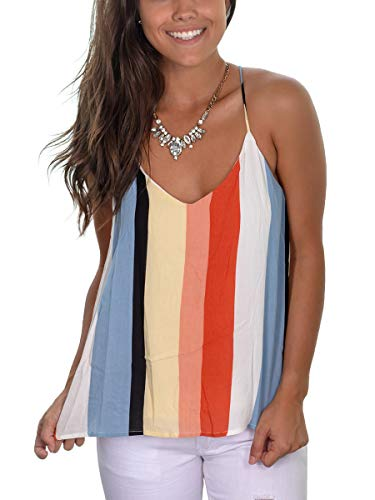 SAMPEEL Womens Tank Top Plus Size Strappy Camisole Sleeveless Striped Mulitcolor XXL - Striped Girls Shirt Top