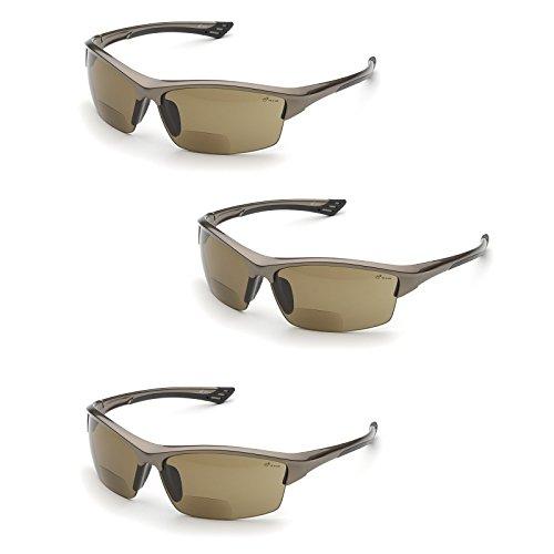 Elvex RX-350BR-1.5 Diopter Safety Glasses, Brown Lens (3 Pair) (1.5 Lens) - Safety Glasses Brown Lens