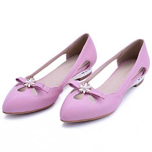 Coolcept Zapatos De Mujer De Las Planas De Moda Bombas De Punta Estrecha Vestido Dulce Zapatos Planos Con Lazo De Rosa