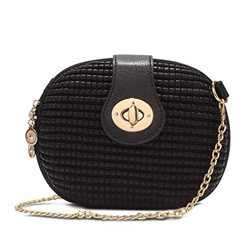 Solid Candy Color Oval Embossed Small Mini Circular Women Messenger Bags ()