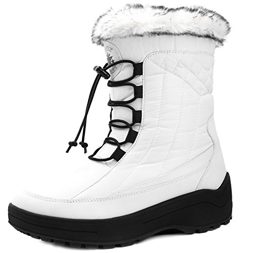 DailyShoes Women's Woman's Ankle High locked Lace Up Warm Fur Water Resistant Eskimo Snow Boots, White 7.5 B(M) (D-ring Lace Up Ankle Boot)
