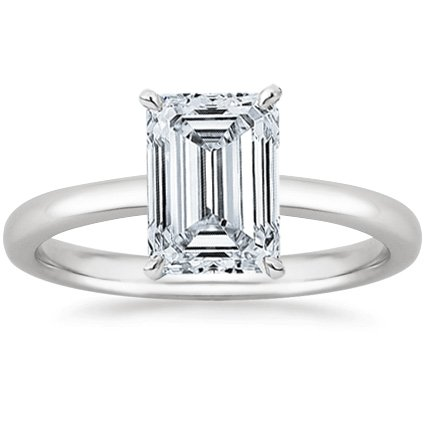 0.9 Carat Emerald Cut Solitaire Diamond Engagement Ring GIA Certified (G-H Color VS1-VS2 Clarity)