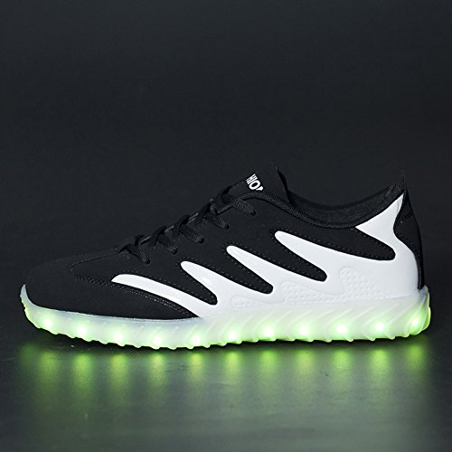 Matari Mens Glowing Sneakers with Light Sole LED Rechargeable Luminous Sneakers Black White TIBHMq1