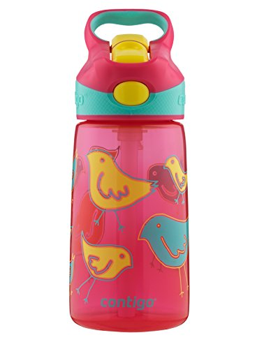 Contigo AUTOSPOUT Straw Striker Kids Water Bottle, 14oz, Cherry Blossom (Kids Cherry)