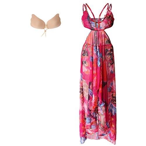 MagiDeal Floreale Abiti Vestito da Cocktail Partito da Spiaggia L con Push Up Adesivo Silicone Reggiseno B per Donna
