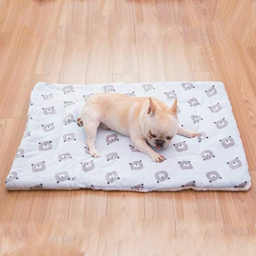 Lamb Cashmere Dog Bed Flannel Throw Blanket Pet Crate Couch Cover Mats 50 x 70CM for Small Dogs & Cats (Color : Grey Bear)