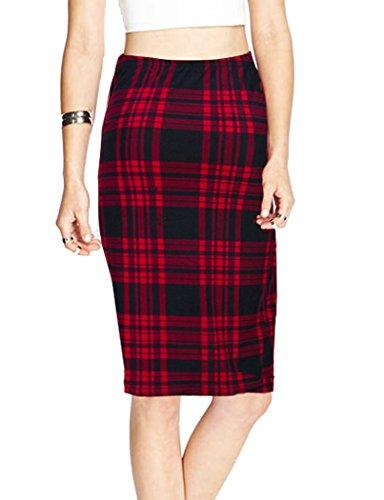 TEERFU Womens High Waist Plaid Bodycon Stretchy Elastic Office Midi Pencil Skirt by TEERFU (Image #1)