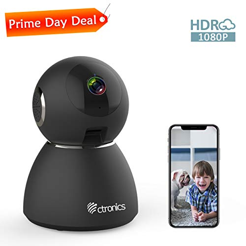25fps 1080P HDR WiFi Security Camera Indoor, Ctronics IP Security Camera with Upgraded Night Vision, Motion & Sound Detection, Two-Way Audio, 355°Angle for Baby, Pet, Home Surveillance ()