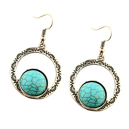 - Turquoise Bead Geometric Round Drop Dangle Earrings Metal Alloy Hoop Charms Necklace Jewelry Crafting Key Chain Bracelet Pendants Accessories Best