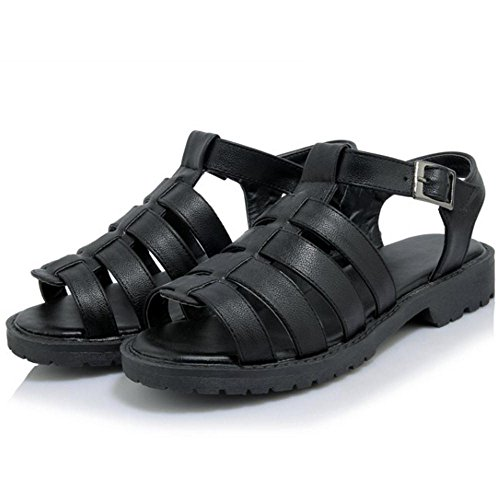 COOLCEPT Mujer Negro Zapatos Pisos Hollow Sandalias fPwqrIf