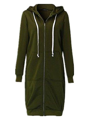 Hoody Taglie Forti Invernale Cappotto Sweatshirt Outwear Coat Puro Cappuccio Donna Cardigan Colore E Allentato Con Lunga Elegante Green AILIENT Zip Felpe Manica Giacca Hoodie UABHnFq
