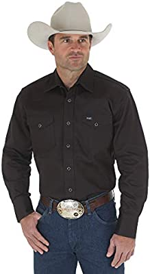 Wrangler Mens Big /& Tall Sport Western Basic Two Pocket Long Sleeve Snap Shirt