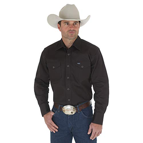 Wrangler Men's Big & Tall Western Work Shirt Firm Finish, Black Large Tall