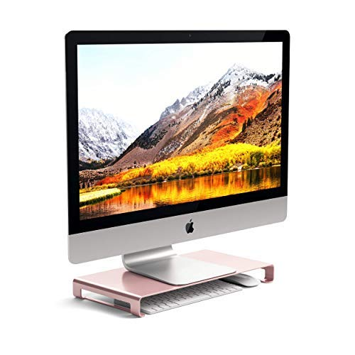 Satechi Aluminum Universal Unibody Monitor Stand - Compatible with 2017 MacBook Pro, iMac Pro, Google Chromebook, Microsoft Surface, Dell, Asus and More (Rose Gold)