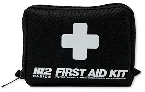 M2 BASICS 150 Piece Compact First Aid Kit w/Bag, Carabiner, Emergency Blanket | Free First Aid Guide | Emergency Medical Supply | Full of Supplies for Home, Office, Outdoors, Car, Camping, Travel