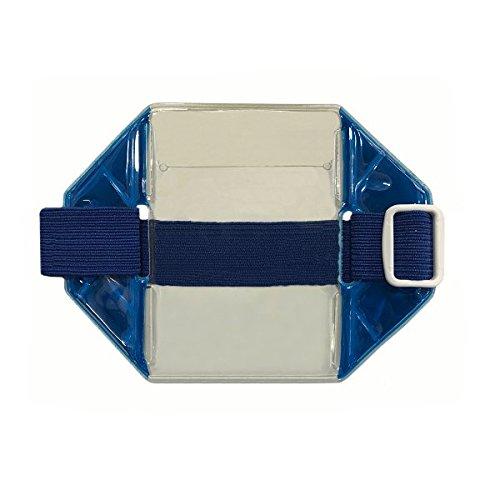 Holder Badge Promotional (Reflective Blue Armband Badge Holder, Royal Blue Stretch Band, White Buckle, Fits 2 3/4